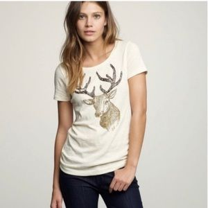 J Crew Beaded Reindeer Graphic Tee